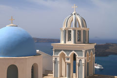 Dome of classical church of Santorini island Royalty Free Stock Images