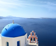 Dome of classical church of Santorini island Stock Photo
