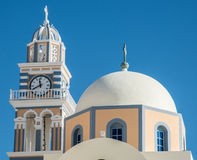 Dome and clock tower on Greek Orthodox church Royalty Free Stock Images