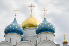 Dome close-up of the Assumption Cathedral of the Holy Trinity St. Sergius Lavra Royalty Free Stock Photos