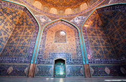Dome and colorful patterned walls with tiles in the iranian mosque Royalty Free Stock Photography