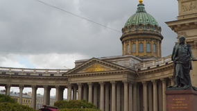 Dome and columns of the Kazan Cathedral in St. Petersburg stock video footage