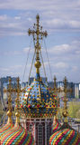 Dome and cross. Church of the Cathedral of the Blessed Virgin. Christmas Stroganov church stock images
