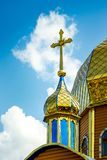 Dome and cross of the Orthodox church on a clear sunny day_. Dome and cross of the Orthodox church on a clear sunny day stock photography