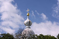 Dome with a cross. Of a resinous cathedral royalty free stock images