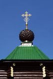 The dome with cross of Russian Orthodox Christian Gate Church in Ganina Yama. Stock Images