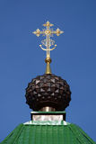 The dome with cross of Russian Orthodox Christian Gate Church in Ganina Yama. The dome with cross of Russian Orthodox Christian Gate Church in Ganina Yama Royalty Free Stock Photo