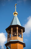 Dome with cross of small wooden Orthodox church Royalty Free Stock Images