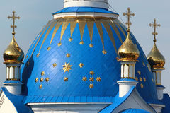 Dome and crosses atop of orthodox church Stock Images