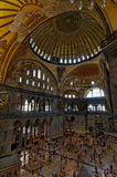 Dome and crowds in Hagia Sophia, Istanbul, Turkey Royalty Free Stock Photos