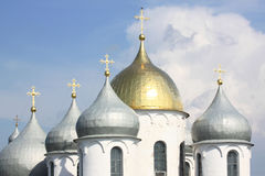 The dome (cupola) of St. Sophia Cathedral. The dome  of St. Sophia Cathedral of Novgorod Kremlin Royalty Free Stock Photography