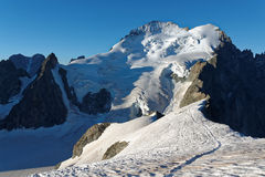 The Dome de Neige des Ecrins from La Roche Faurio. The Dome de Neige des Ecrins is a summit 4015m located in the Ecrins National Park in France. This picture is Stock Images