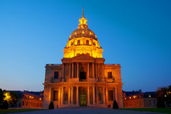 Dome Des Invalides, Paris, France. Dome des Invalides, Tomb of Napoleon in Paris Night View Royalty Free Stock Images