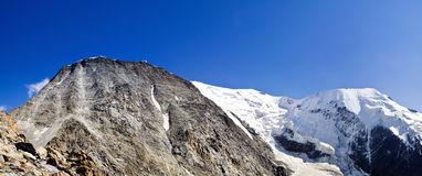 Dome du gouter and Bionnassay peak. On Mont Blanc near Chamonix Stock Photos