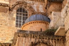 Dome embedded into church of the Holy Sepulchre, Jerusalem. Israel royalty free stock photo