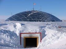 Dome Entrance. The entrance to the historic South Pole Dome. The second station at the South Pole was known as The Dome. It was built by the US Navy Seabees and royalty free stock photography