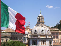 Dome and flag. Church dome and Italian flag in Rome, Italy Stock Photos