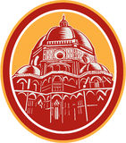 Dome of Florence Cathedral Front Woodcut Stock Image