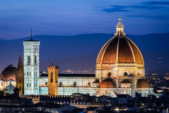 Dome of Florence Cathedral, night in Tuscany Stock Images