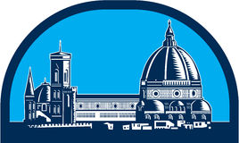 Dome of Florence Cathedral Retro Woodcut. Illustration of the Dome of Florence Cathedral or Il Duomo in Piazza del Duomo, Firenze, Italy viewed from far set Stock Image