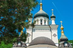 Dome of Foros Church in Crimea Ukraine. View from below, clear summer day stock images