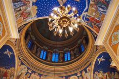 Dome fresco. Fresco inside of dome in Orthodox Christian cathedral church Stock Photos