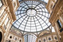 Italy Milan, 05.09.2017. Galleria Vittorio Emanuele. Dome and gallery interior Galleria Vittorio Emanuele Royalty Free Stock Photo