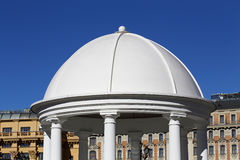 Dome of the  gazebo top. Oval white dome of the arbor top with white columns Royalty Free Stock Photos
