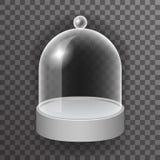 Dome glass showcase box  3d realistic shop mockup transparent background design vector illustration Royalty Free Stock Image