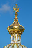 The dome of the Grand Peterhof Palace close-up. Petrodvorets Stock Photography