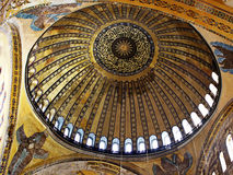 Dome of Hagia Sophia. Basilica. It is the first time that hidden six winged angel image (Seraphim) is being visible  to the visitors after scaffolding removed Royalty Free Stock Photos