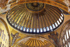 Dome of Hagia Sophia basilica. It is the first time that hidden angel image is being visible to the visitors after scaffolding removed Royalty Free Stock Photography