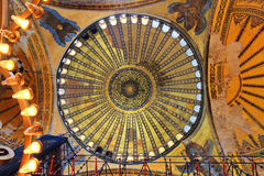 Dome of Hagia Sophia basilica. Interior of Hagia Sophia in Istanbul, Turkey Royalty Free Stock Images