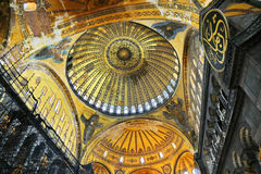 Dome of Hagia Sophia. Interior of Hagia Sophia Museum in Istanbul, Turkey Royalty Free Stock Photos