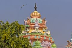 Dome of the Hindu temple. JANUARY 28, 2015, UPPALAPADU, ANDHRA PRADESH, INDIA - Dome of the little Hindu temple of the God Shiva in the South Indian village Stock Photography