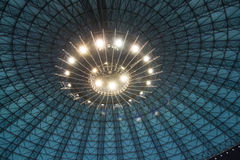 Dome illumination. Large indoor building roof structure in the shape of a dome with artificial illumination system Royalty Free Stock Image