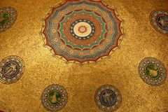 Dome. The inside of a dome is covered in a pattern of mosaic tiles in the city of Istanbul, Turkey Royalty Free Stock Photos