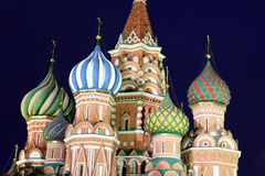 Dome of Intercession Cathedral St. Basil's on Red square in Mosc Stock Images