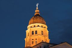 Dome of the Kansas State Capital Building. In Topeka, Kansas at night stock photography
