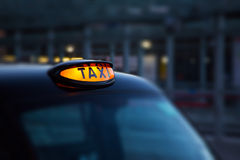 Dome lamp of classic black cab in London. Selective focus royalty free stock image