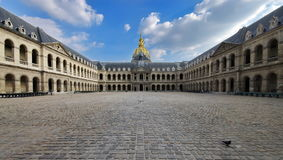 Dome of Les Invalides - landmark attraction in Paris, France. The Courtyard of the Dome of Les Invalides - landmark attraction in Paris, France Stock Photo