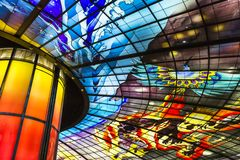 The Dome of Light at Formosa Boulevard station in Kaohsiung is the largest glass work in the world.. It was designed by Italian royalty free stock photography
