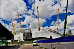 The dome London O2 arena. The dome of the O2 arena that can be seen in outer space in London UK stock photos