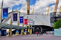 The dome London O2 arena. The dome of the O2 arena that can be seen in outer space in London UK royalty free stock image