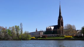 Dome and Main River in Frankfurt Germany stock video footage