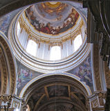 Dome of maltese church. Dome and interior of maltese church Stock Photos