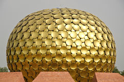 Dome of Mantrimandir Golden temple in Auroville, Tamil Nadu, India Royalty Free Stock Photos