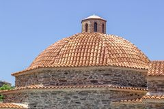 Dome of masonry constructed old hamam in turkey. At sunset time Royalty Free Stock Photos