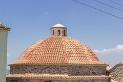 Dome of masonry stone constructed old hamam in turkey. At sunset time Royalty Free Stock Images