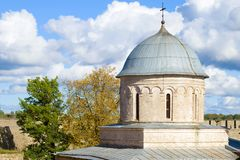 Dome of the medieval Assumption Church. Ivangorod Fortress, Russia. Dome of the medieval Assumption Church close-up on a September afternoon. Ivangorod Fortress royalty free stock photo